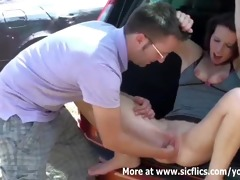 fisting my girlfriends snatch in the car trunk