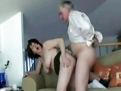 sexy granny wench bows over and takes old jock