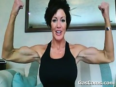 built older woman flexing