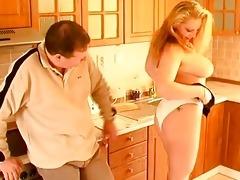 breasty dilettante wife oral-stimulation titjob