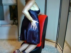 sexually excited satin gown lady