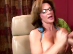 hot d like to fuck in spex receives cum over her