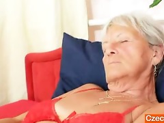 unlovely gramma cecilie toys her haired snatch