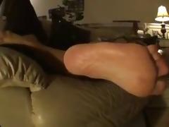 older wrinkled soles on the bed