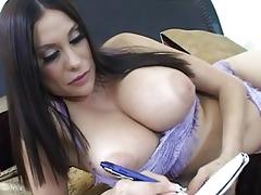 delightful busty brunette hair wife masturbating