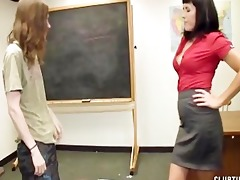 a sexy teacher gives her student a great cook