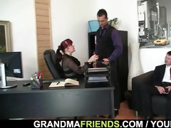 office woman pleases knobs