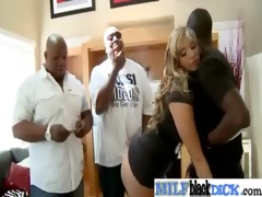 whores milfs receive threesome large darksome