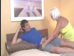 granny jerking the youthful guy