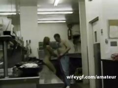 chef geek wifey is sex screwed in kitchen by her