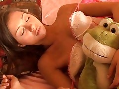 sleeping dark brown legal age teenager in teasing