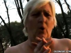 bulky gilf enjoys outdoor sex