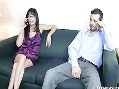 a horny mommy sucks a pecker