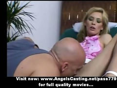non-professional awesome golden-haired wife doing
