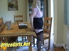 secretary in nylons gives footjob