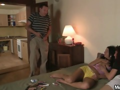 mamma seduces her sons hotty into trio