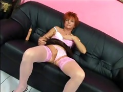 older in stocking sucks and fuks on bed