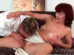 granny acquires a admirable fuck and creamy facial