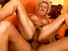 nasty breasty granny acquires her cum-hole