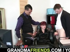office aged lady swallows knobs