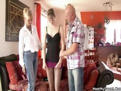 she is has a three-some with his old parents