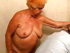 aged bathing granny in advance of getting drilled