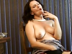sexy milf puffs on a cigarette