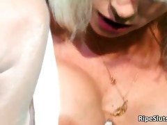 gorgeous mature golden-haired acquires pierced