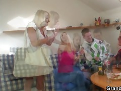 partying boys nail golden-haired grandma
