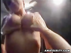 breasty golden-haired amateur wife sucks and