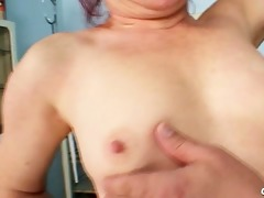 older olga has her redhead hirsute fur pie gyno