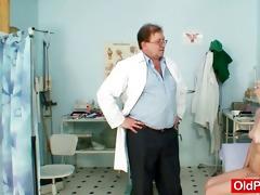 slim bushy granny woman doctor treatment