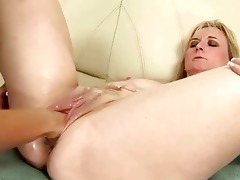 aged golden-haired receives anal fisted