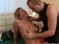 excited granny sucks ramrod and receives drilled