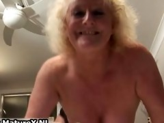 chubby older housewife is lustful and plays part4