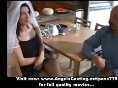 enjoyable brunette hair bride doing oral-job