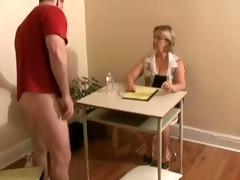 tugjob ends with jizz flow by big tittied blond