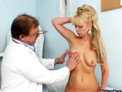 golden-haired older mamma receives fulyl examed