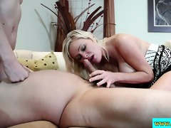 stepmom helps stepdaughter in ffm sexy trio