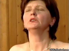 bawdy aged woman going insane getting