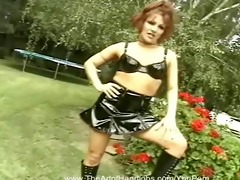 redhead in leather cook jerking