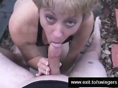 cuckold tracey sucks cum from strangers schlong