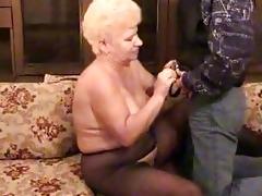 russian grandma with a chap