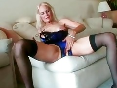 hawt blonde granny toys her vagina before fucking