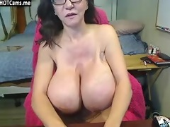 hawt older with glasses heavy melons masturbate