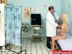 slender curly granny woman doctor treatment