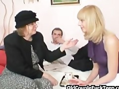 blond shares ramrod with old bag