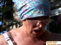 granny acquires reamed by youthful stud outdoors