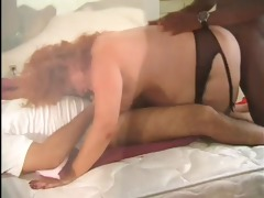 chubby and furry redhead granny receives a couple