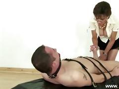 dominant-bitch jerking off servants hard pecker